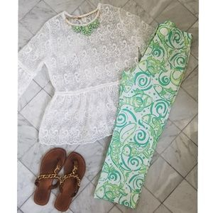 Lilly Pulitzer White and Green Fish Swirl Pants